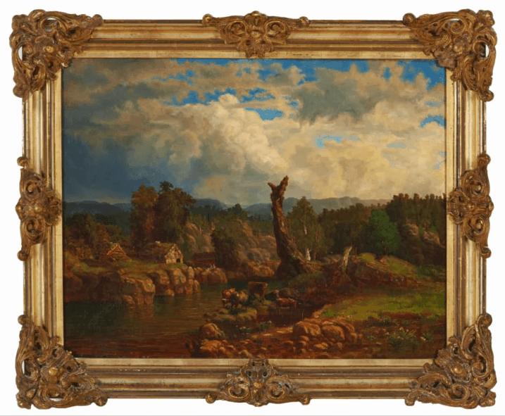 """Kitty Kielland """"Sommerlandskap i tordenvær"""". Motivet er etter Lars Hertervigs maleri med samme tittel"""